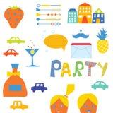 Partyjni projektów elementy ustawiający Zdjęcia Royalty Free