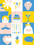 Partyjni projektów elementy - set śmieszne ikony Zdjęcia Stock