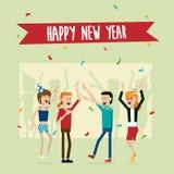 Partyjni szczęśliwi nowy rok ludzie i odświętność wakacje wektorowi Obrazy Stock