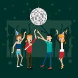 Partyjni szczęśliwi nowy rok ludzie i odświętność wakacje wektorowi Obraz Royalty Free