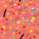 Partyjny bezszwowy wzór z winem, muzycznymi symbolami i kwiatami, Fotografia Royalty Free