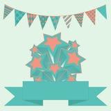 Partyjny chorągiewki tło z gwiazdami i sztandarem Obrazy Royalty Free