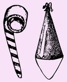 Partyjny kapelusz, noisemaker ilustracji