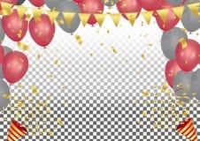 Partyjny krakers z confetti i streamer na baloons w kształcie ilustracja wektor