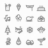Partyjny symbol linii ikony set Zdjęcia Royalty Free