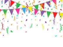 Partyjny sztandar z kolorowymi flaga i confetti również zwrócić corel ilustracji wektora Zdjęcia Royalty Free