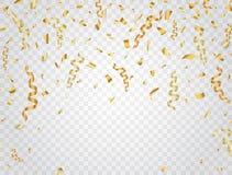 Partyjny tło z złocistymi confetti Świętowania tło również zwrócić corel ilustracji wektora Zdjęcia Stock