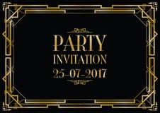 Partyjny zaproszenia art deco Obraz Stock