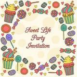 Partyjny zaproszenie z cukierkami Obraz Royalty Free