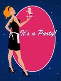 Partyjny zaproszenie z koktajl kelnerką Obraz Royalty Free