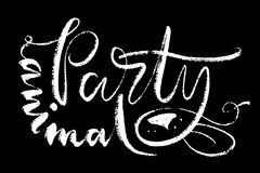 Partylöwewörter Übergeben Sie gezogene kreative Kalligraphie und bürsten Sie Stiftbeschriftung, Design für T-Shirts, Kinderabnutz Stockbild