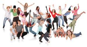 Partyleute, tanzende Gruppe Lizenzfreie Stockfotos