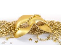 Partymask. Party mask with gold beads Royalty Free Stock Images