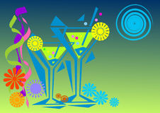 Partytime and cocktails. A decorative illustration with coctail glasses and festive ribbons and floral shapes around Stock Images