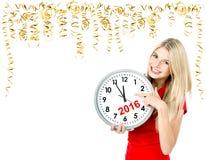 Partytime datumet sparar fem till tolv Ung kvinna med en clo Royaltyfria Bilder