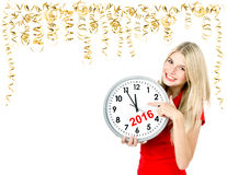 Partytime. Save the date. Five to twelve. Young woman with a clo Royalty Free Stock Images