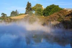 Parujący jezioro w Kuirau parku, Rotorua, Nowa Zelandia zdjęcia stock