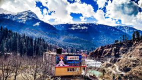 Parvati谷美丽的景色  免版税库存图片