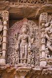 Parvati ` s苦行,拉妮ki vav内在墙壁,在Saraswati河河岸的一复杂地被修建的stepwell  Patan, Gujar 免版税库存图片