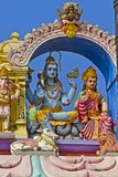 Parvati and Shiva. JANUARY 28, 2015, UPPALAPADU, ANDHRA PRADESH, INDIA - Sculpture of Parvati and Shiva on the little Hindu temple of the God Shiva in the South Stock Photo