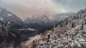 Parvati valley. Aerial view of Parvati valley after a snow fall Royalty Free Stock Photography