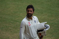 Parvez Rasool cricketer. Jammu and Kashmir's Parvez Rasool playing for Rest of India against Karnataka in the Irani Cup royalty free stock image