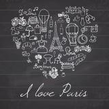 Paryż doodles elementy Ręka rysujący ustalony withefel wierza hodował cukiernianych kwiaty i bicykl Rysunkowa doodle kolekcja w k ilustracja wektor