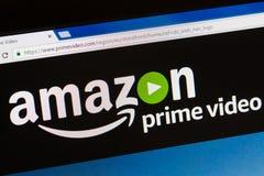 Paryż Francja, Czerwiec, - 05, 2017: Amazonki wideo Pierwszorzędny HomePage strona internetowa Amazonka, jest Amerykańskim elektr Obrazy Royalty Free