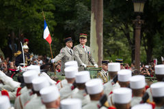 Paryż Francja, Lipiec, - 14, 2012 Szef personel siły zbrojne Francuska republika wita legionistów Zdjęcie Stock