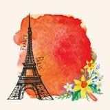 Paryż karta Wieża Eifla, akwarela narcyz Zdjęcia Royalty Free