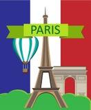 Paryż karta z flaga i wieżą eifla royalty ilustracja
