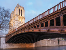 Paryż: katedralna Notre Damae i mosta Pont au kopia obrazy stock