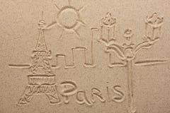 Paryż malował obok w piasku Zdjęcie Royalty Free
