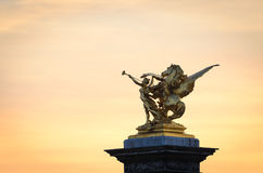 Paryż mosta Alexandre III szczegół zdjęcie stock