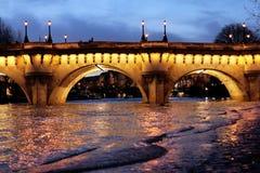 Paryż mosta Pont Neuf wontonu rzeki powodzie zdjęcie stock