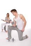 pary ćwiczenia sprawności fizycznej metalu ciężary Fotografia Stock