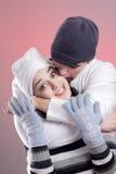 pary atrakcyjna zima obrazy stock