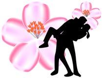 Pary całowanie przed wiśnią ilustracji