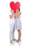 Pary całowanie za sercem Obraz Royalty Free
