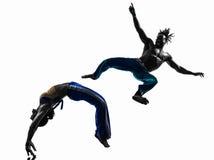 Pary capoeira tancerzy tanczyć   sylwetka Obraz Stock