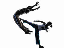 Pary capoeira tancerzy tanczyć   sylwetka Obrazy Royalty Free
