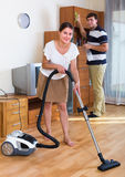 Pary cleaning mieszkanie wpólnie Obraz Stock