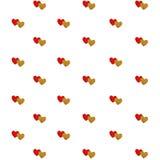 Pary czerwony i złocisty serce odizolowywający na bielu Obraz Stock
