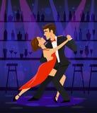 Pary dancingowy tango w dyskoteka klubu barze royalty ilustracja
