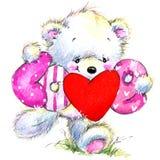 pary dzień ilustracyjny kochający valentine wektor Śliczny Białego niedźwiedzia i czerwieni serce Obraz Royalty Free