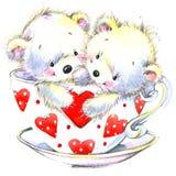 pary dzień ilustracyjny kochający valentine wektor Śliczny Białego niedźwiedzia i czerwieni serce Zdjęcia Royalty Free