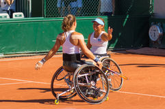 PARYŻ FRANCJA, CZERWIEC, - 10, 2017: Roland Garros kobiety kopii koło Zdjęcie Royalty Free