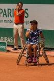 PARYŻ FRANCJA, CZERWIEC, - 10, 2017: Roland Garros kobiety wózek inwalidzki fi Fotografia Royalty Free