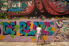 PARYŻ, FRANCJA 25 Lipiec 2016 graffiti sztuki uliczni malowidła ścienne Obrazy Royalty Free
