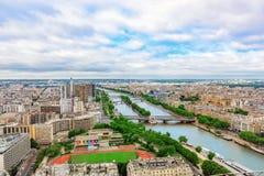PARYŻ FRANCJA, LIPIEC, - 01, 2016: Panorama Paryski widok od wieży eifla Widok wonton Fotografia Stock